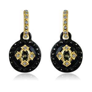 Round Black and Gold Earrings Paved with Black Diamond and Cubic Zirconia w/ Big Center Stone