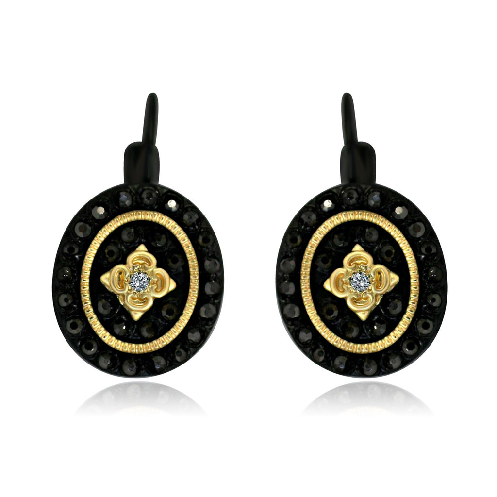 Black and Gold Oval Shaped Earrings with Black Diamond w/ Flower Design in the Center