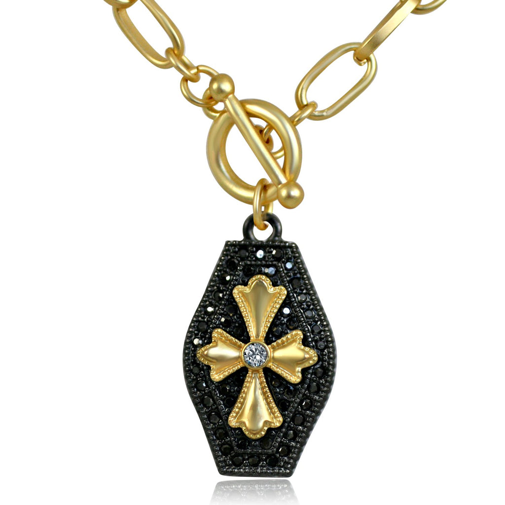 Black and Gold Pendant Paved with Black Diamond and Cubic Zirconia in the Center Elongated Chain Link Toggle Clasp