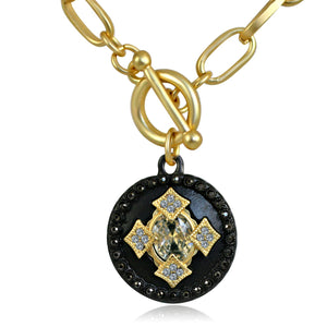 Round Black and Gold Pendant Paved with Black Diamond and Cubic Zirconia w/ Big Center Stone Elongated Chain Link Toggle Clasp