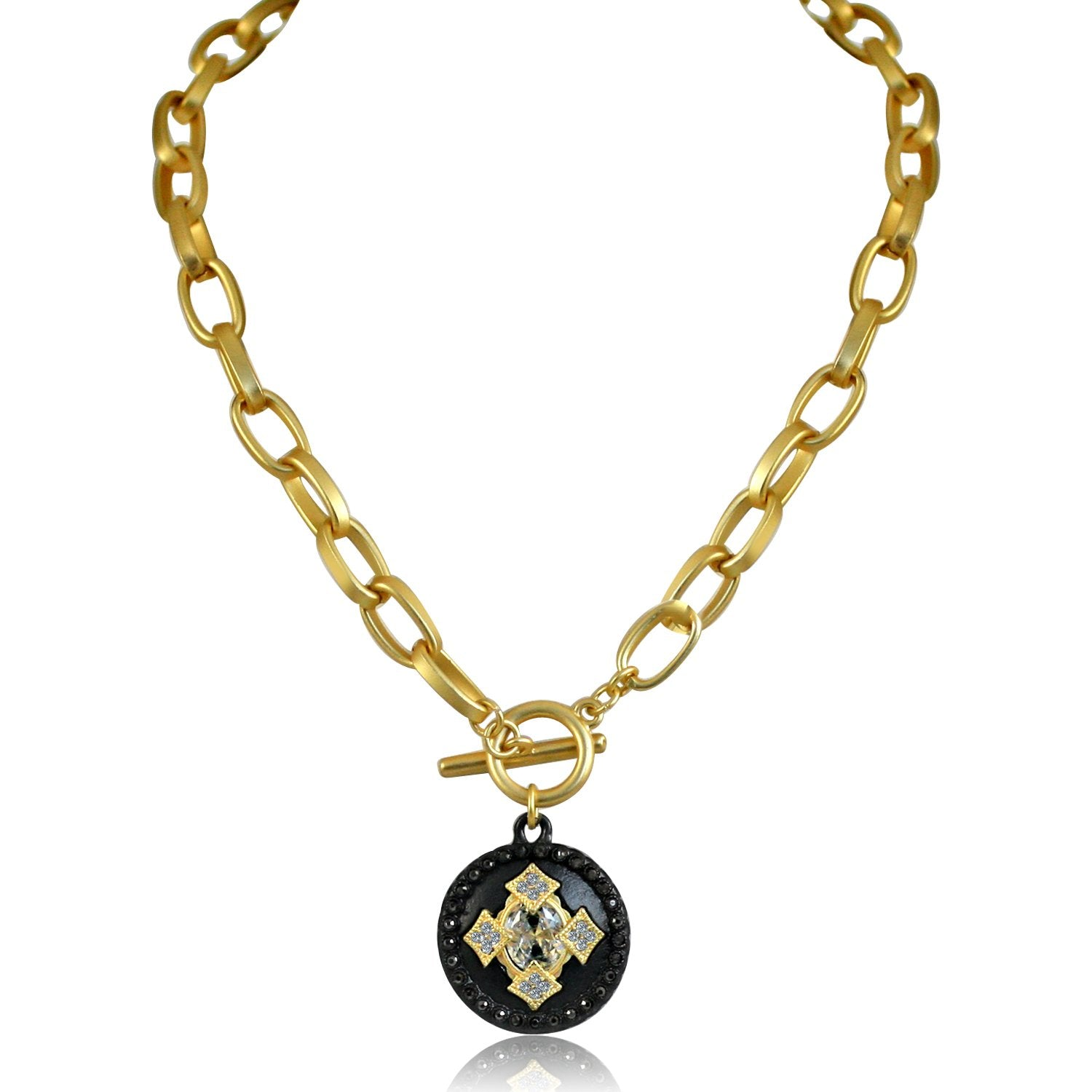 Round Black and Gold Pendant Paved with Black Diamond and Cubic Zirconia w/ Big Center Stone Elongated Chain Link Toggle Clasp 689N648