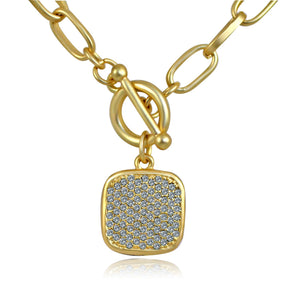 Sparkling Square Gold Pendant Paved with Cubic Zirconia Elongated Chain Link Toggle Clasp