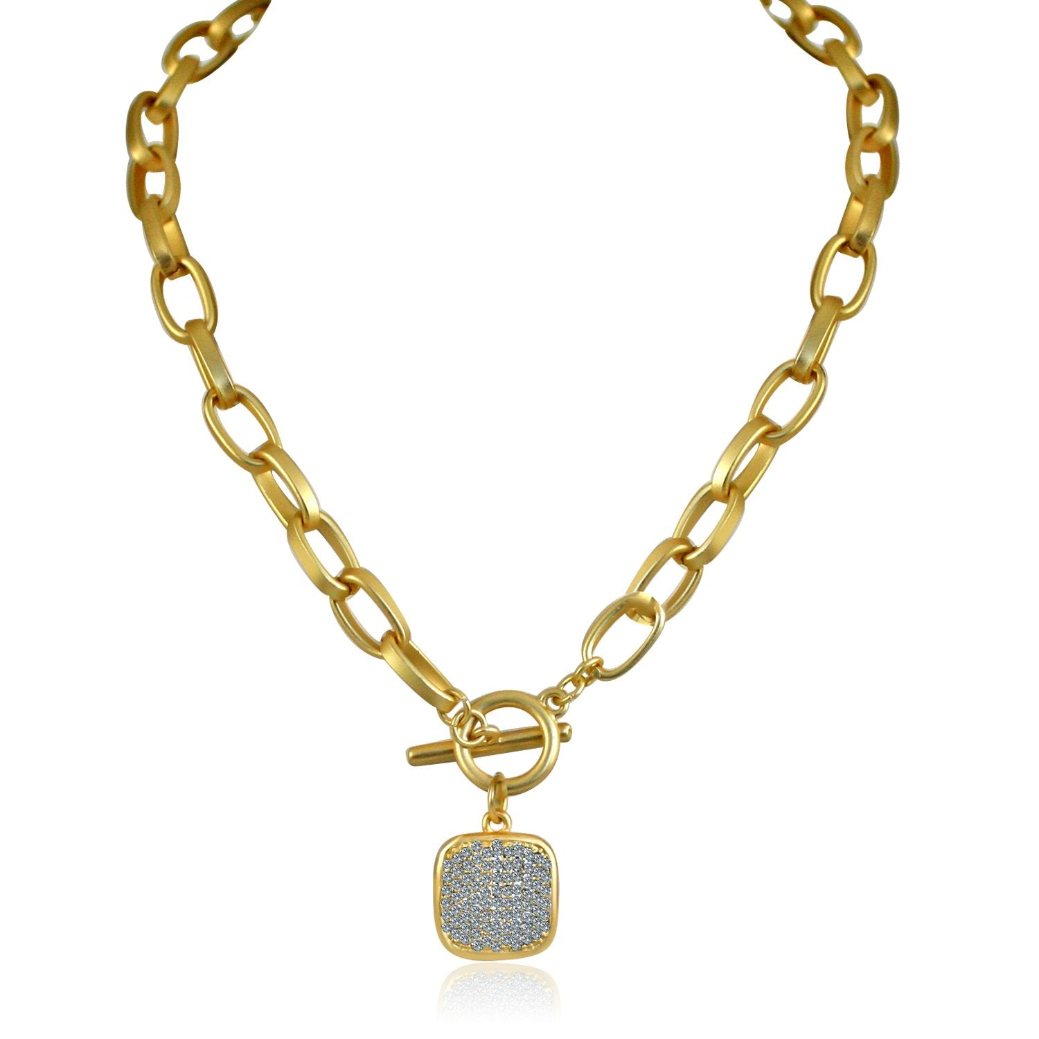 Sparkling Square Gold Pendant Paved with Cubic Zirconia Elongated Chain Link Toggle Clasp 689N791