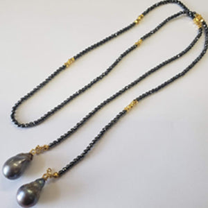 "30"" HEMATITE BEADS WITH GENUINE BAROQUE PEARL DROP LARIAT NECKLACE"