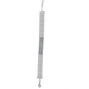 FINE CRYSTAL RHINESTONES PAVE RECTANGLE CENTER ON MULTI-BEADS CHAIN STRANDS CHOKER NECKLACE 700C716