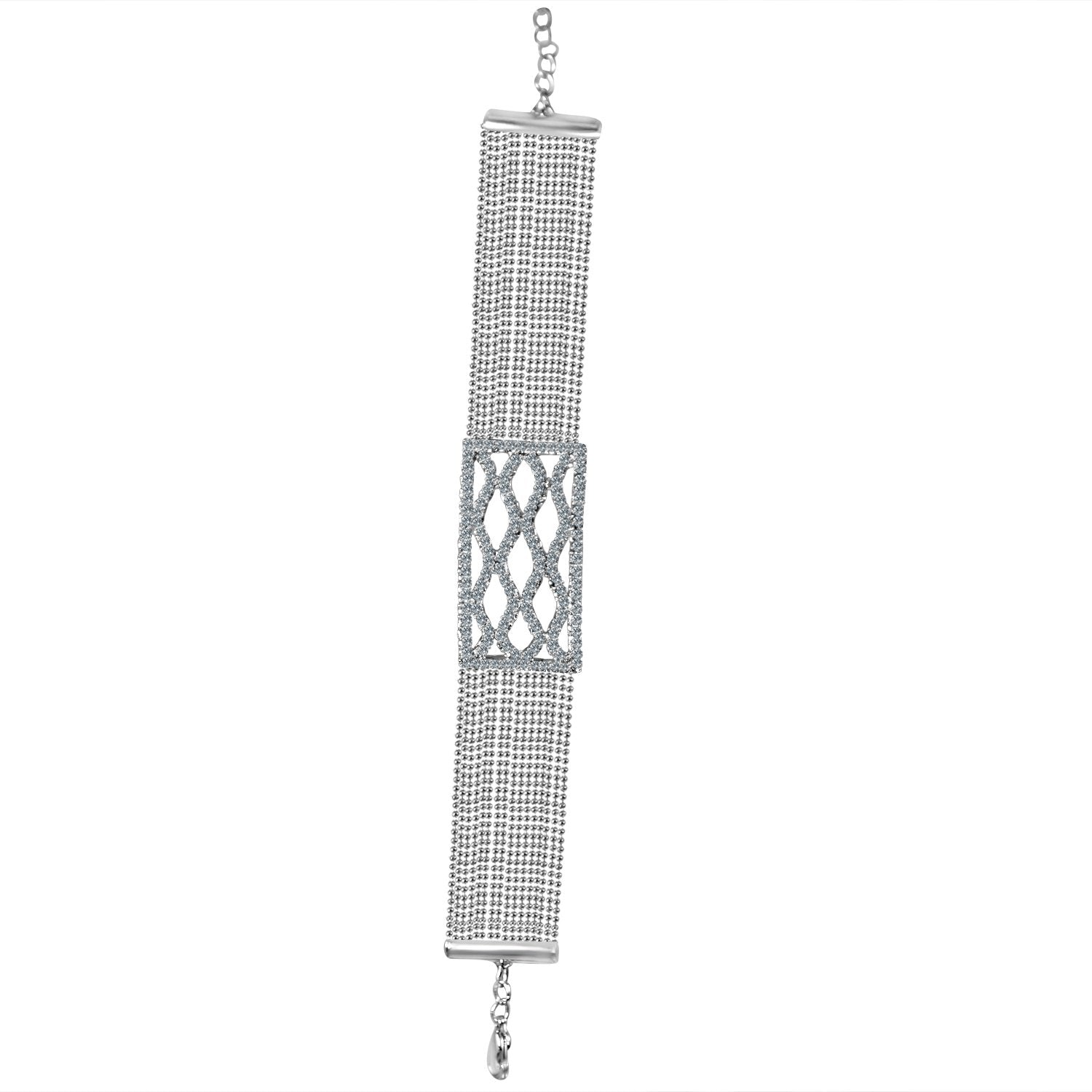 FINE CRYSTAL RHINESTONES CRISS-CROSS CENTER ON MULTI-BEADS CHAIN STRANDS CHOKER NECKLACE 700C719