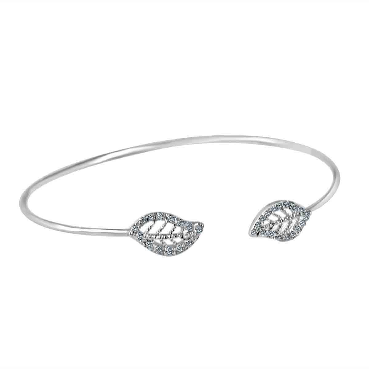 Fine Open end Pave Leaf Bangle set w/Zirconite Cubic Zirconia. 702B1202