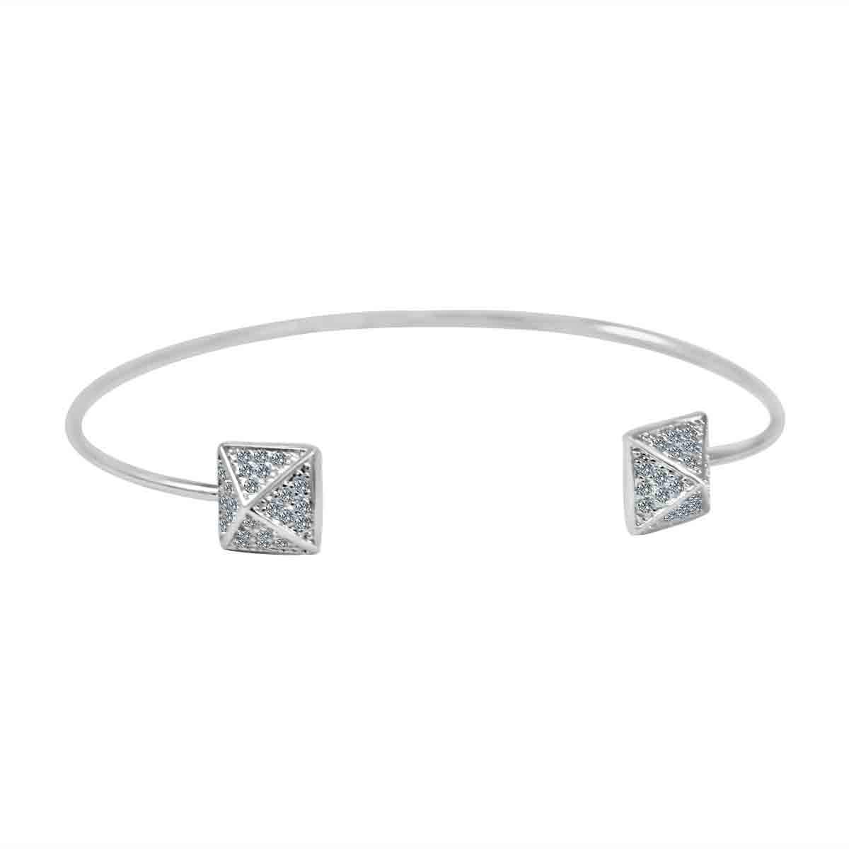 Fine Open end Pave pyramid Bangle set w/Zirconite Cubic Zirconia 705b1208