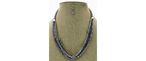 4-Rows Stone Beaded Necklace