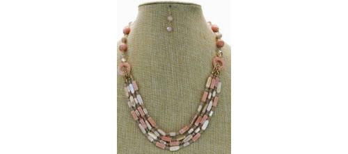 Multi-Rows Bead Shell Stone Necklace