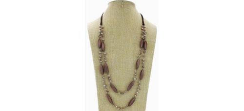 2-Row Braided Bead Long Necklace