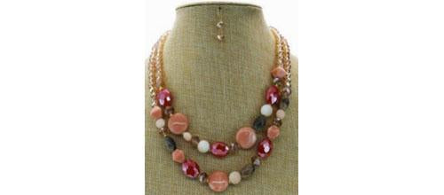 Oval Beads Resin Long Necklace