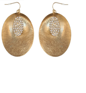 Large Crystal studded Satin curved Disc earrings