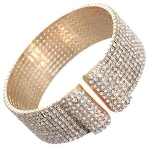 Elegant Sparkling Cuff Bracelet Paved with Crystals