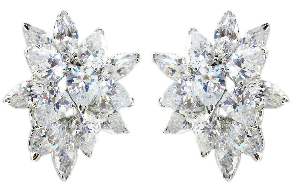 Flower Cz Earrings in S/S