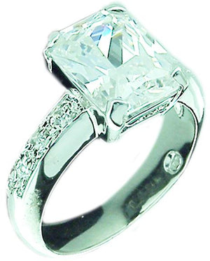 Em Ctr Cz Pave on Sides Sterling silver Ring