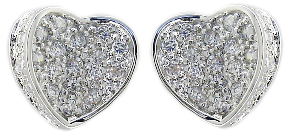 STERLING SILVER CURVED CUBIC ZIRCONIA PAVE HEART EARRINGS