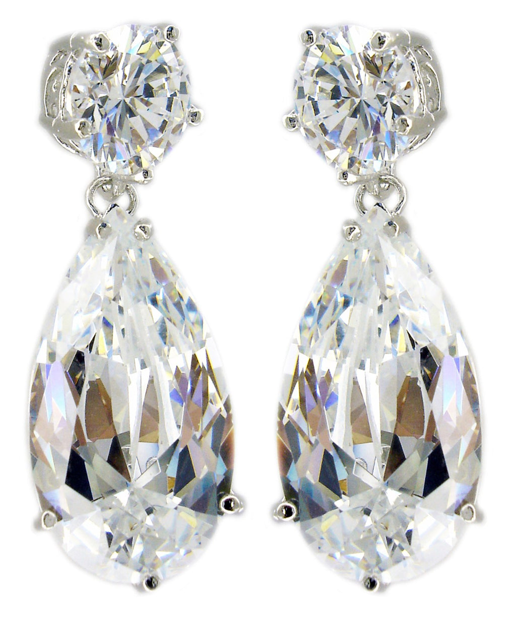 Top Round Cz Earring Tear Drop Color Cz