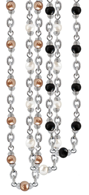 "Satin textured 48"" long Glass Pearls designer necklace with toggle closure finished in brass base."