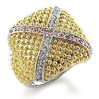 Cubic Zirconia Square Gold Tone Ring - Gold