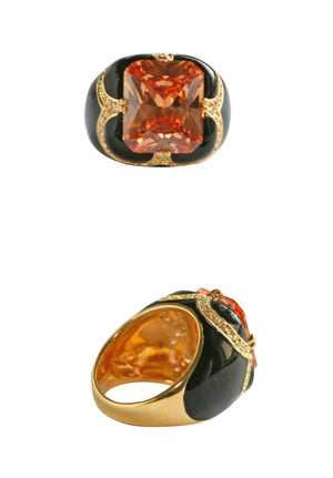 Petal Pattern Electro Plated Ring - Black