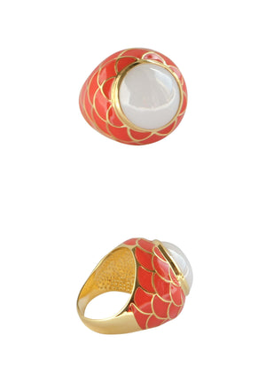 Cabochon Glass Plated Ring - White