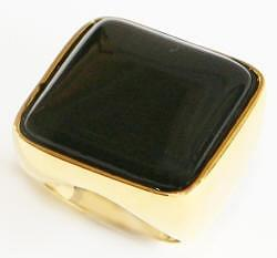 Square Glass Goldtone Ring - Black