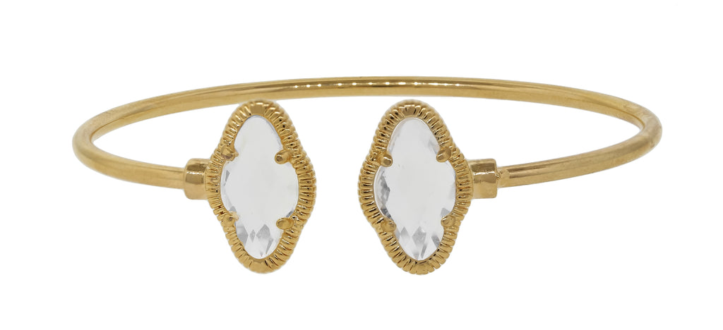 Thin open cuff bangle with elongated clover ends 681b5650