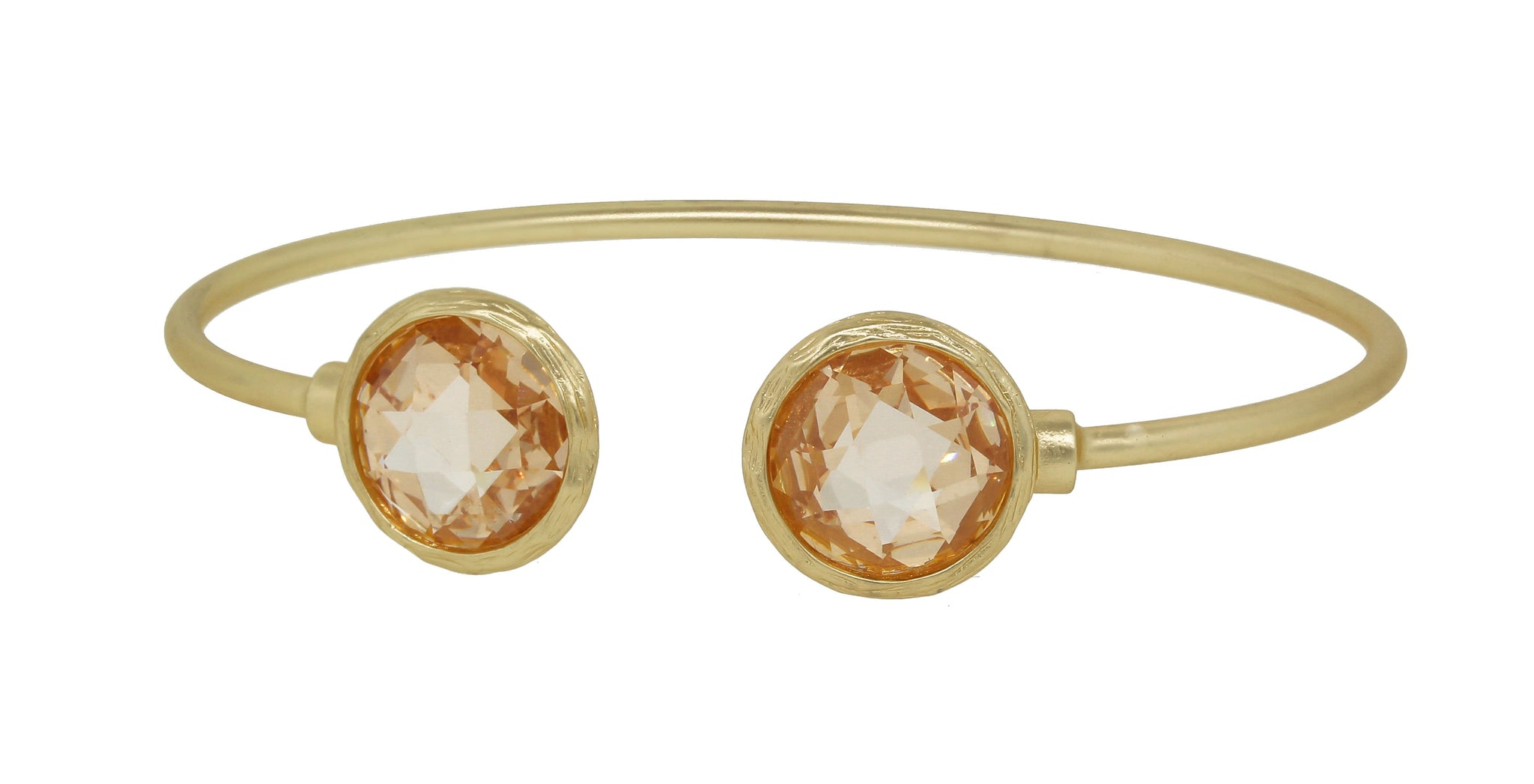 Thin Satin Gold Cuff Bangles with Round Stone Ends 681B5688