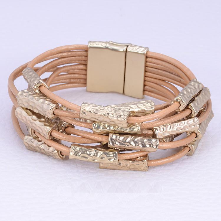 9 Rows magnetic clasp high quality satin gold tone bracelet 702BX9