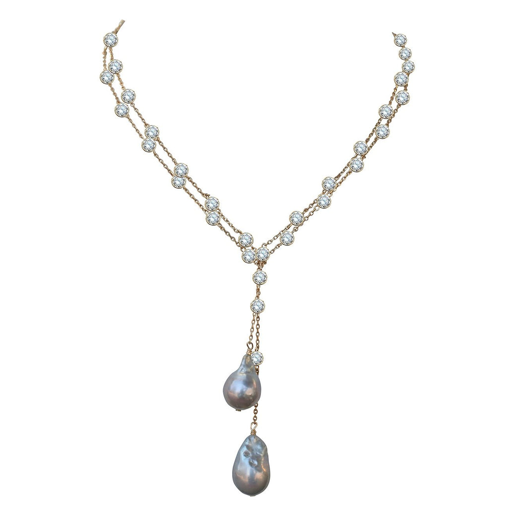 Zirconmania - Zirconite The Yard Finished with Two Extra Large Genuine Baroque Fresh Water Pearls Necklace Lariat BZBYX30P36