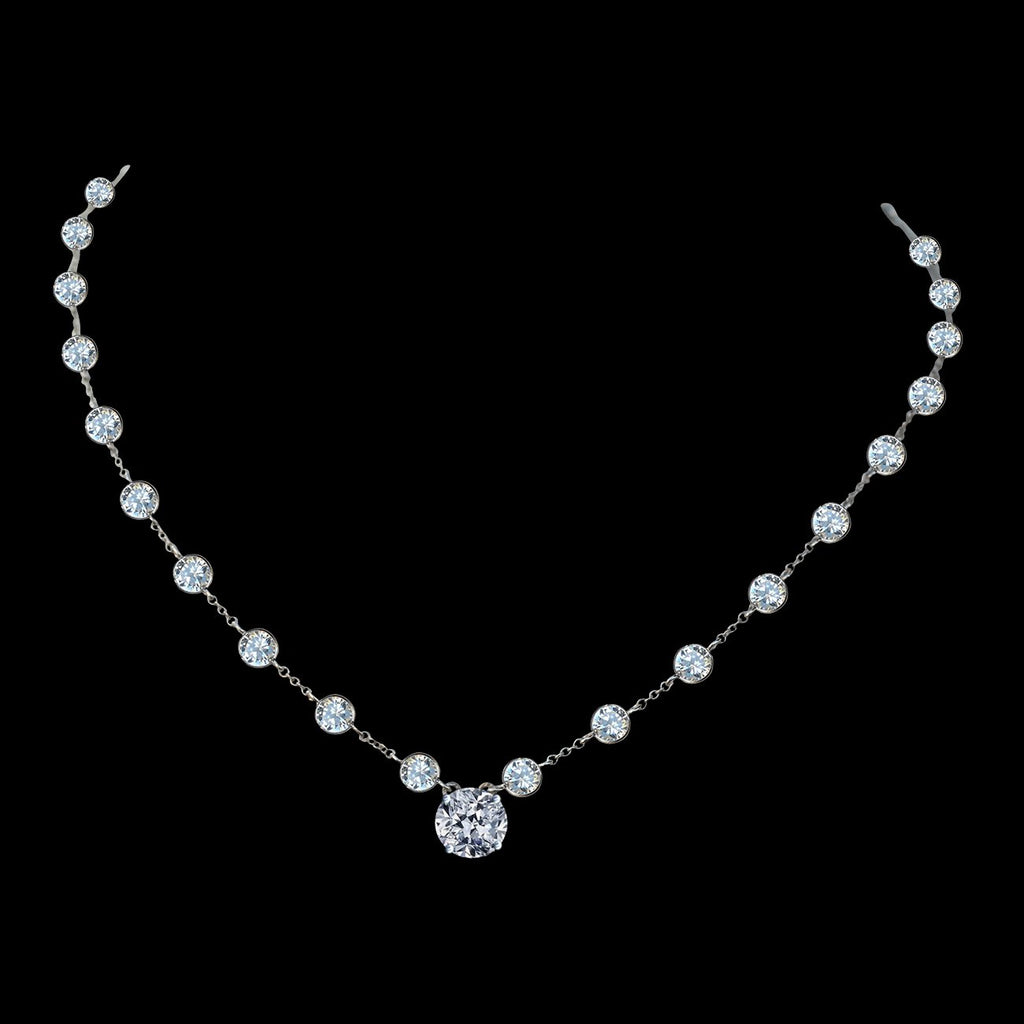 "Diamond Veneer centered 2.5 CT Round Cut on Zirconite Cubic Zirconia by the cubic inch Necklace Rhodium Electroplate. 16"" + 2"" Extension."