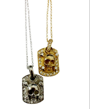 Sterling Silver dog tag with bordered CZ pave featuring n electroplated pave skull head charm