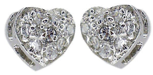 Cubic zirconia pave heart shape post earrings finished in sterling silver GDE1124