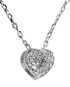 CUBIC ZIRCONIA PAVE HEART SHAPE PENDANT IN STERLING SILVER