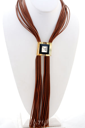 "Multi 24"" Leather Cord Designer Statement Necklace with a duo of centered Metal Jeweled Square Inserts"