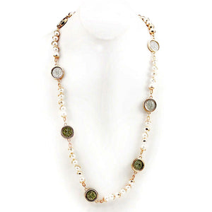 Gold Toned Pearl Necklace with Two Tone Coin Stations