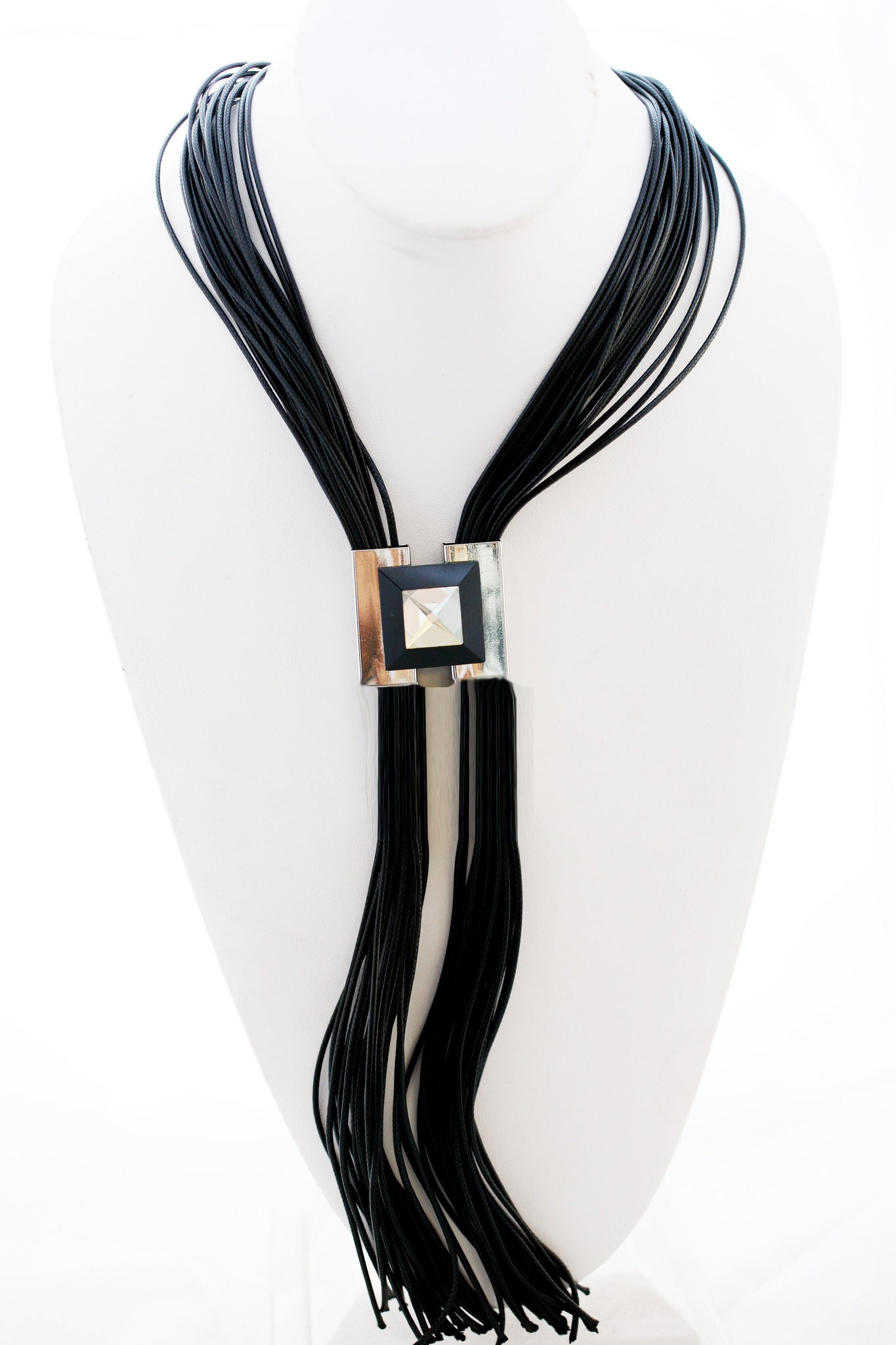 "Multi 30"" Leather Cord Designer Statement Necklace with a duo of centered Metal Jeweled Square Inserts 702N6215"