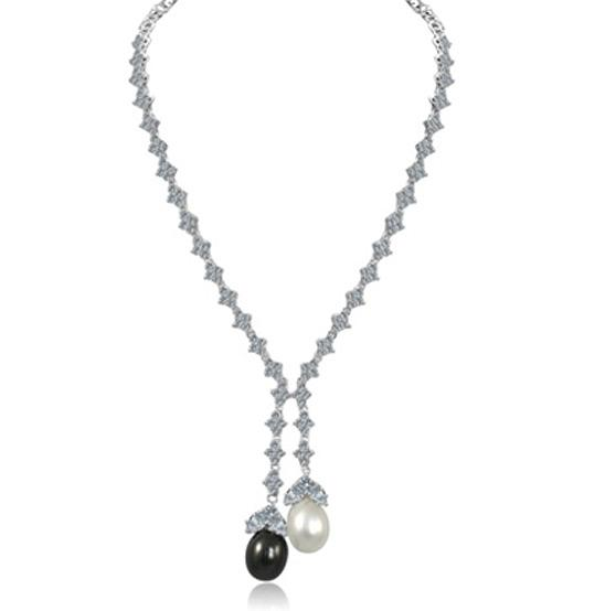 Zirconite Cubic zirconia Lariat w/Oval coated Shell (Mother of Pearl) Necklace