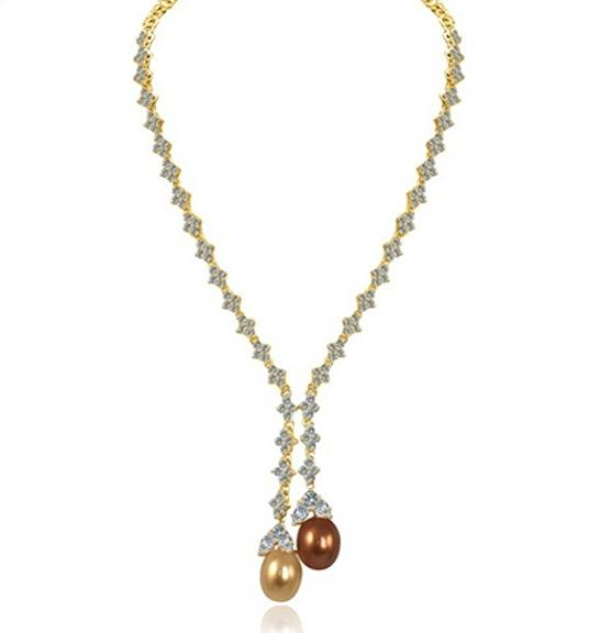 Zirconite Cubic zirconia Lariat w/Oval coated Shell (Mother of Pearl) Necklace 628N80024P