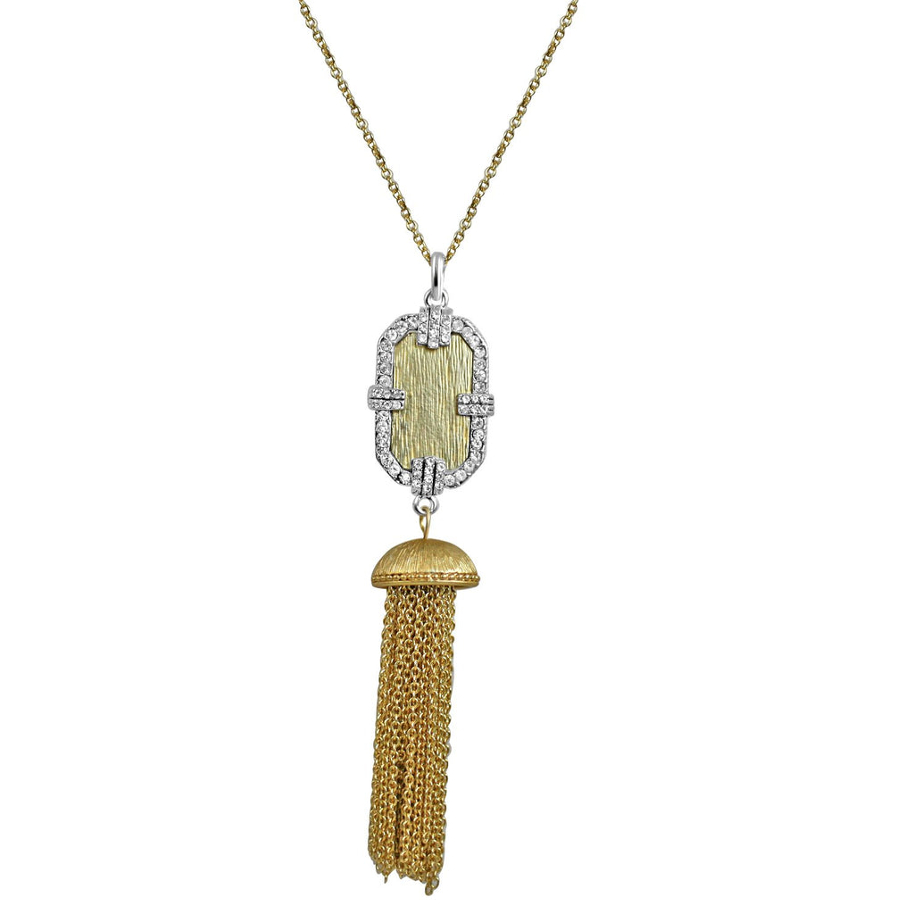 Vintage Tassel Gold and Silver Pendant Necklace Micro Paved With Cubic Zirconia on a Link Chain