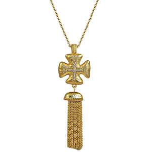 Vintage Tassel Gold Cross Pendant Necklace Micro Paved With Cubic Zirconia on an Link Chain