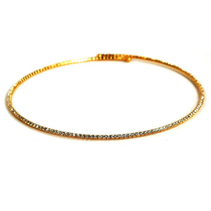 Electroplated Elastic Collar Necklace - GOLD