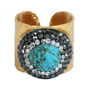 Boho with a Modern Twist Jeweled Turquise Ring 696R4239