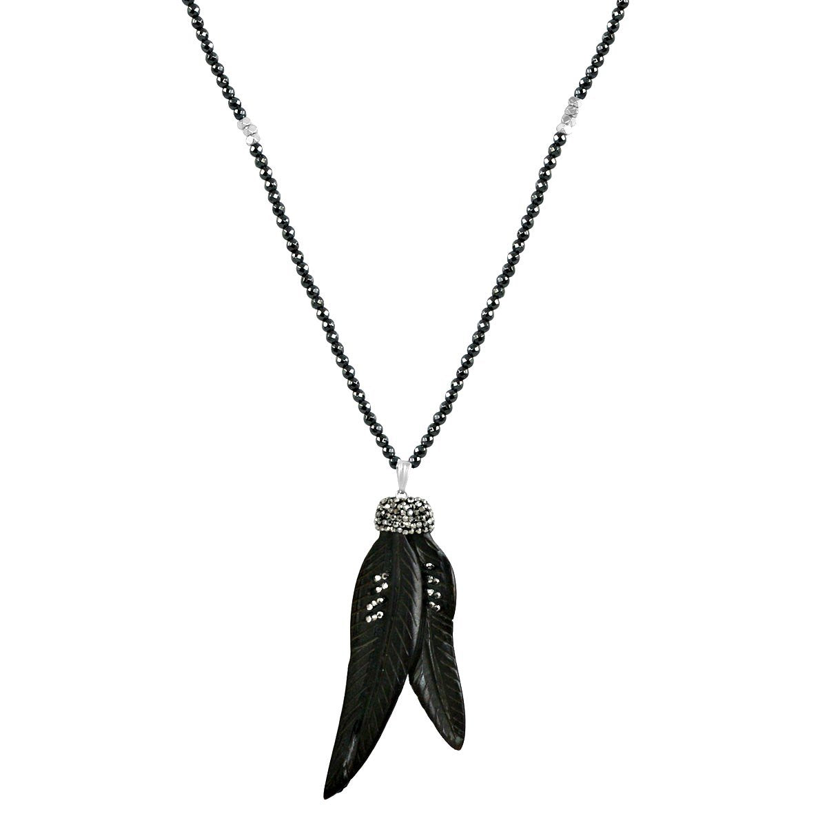 "Boho with a Modern Twist Jeweled Feather Pendant Comes with 30"" dark Faceted Hematite Beads 696N4347"