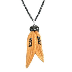"Boho with a Modern Twist Jeweled Feather Pendant Comes with either 30"" dark faceted Glass Beads 696N4347"