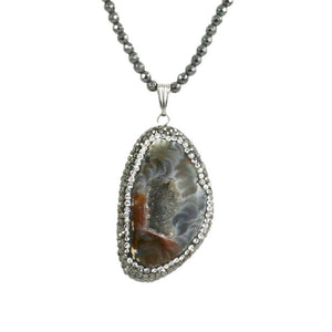 "Boho with a Modern Twist Jeweled Pendant Comes with either 30"" dark faceted Glass Beads 696N4549"