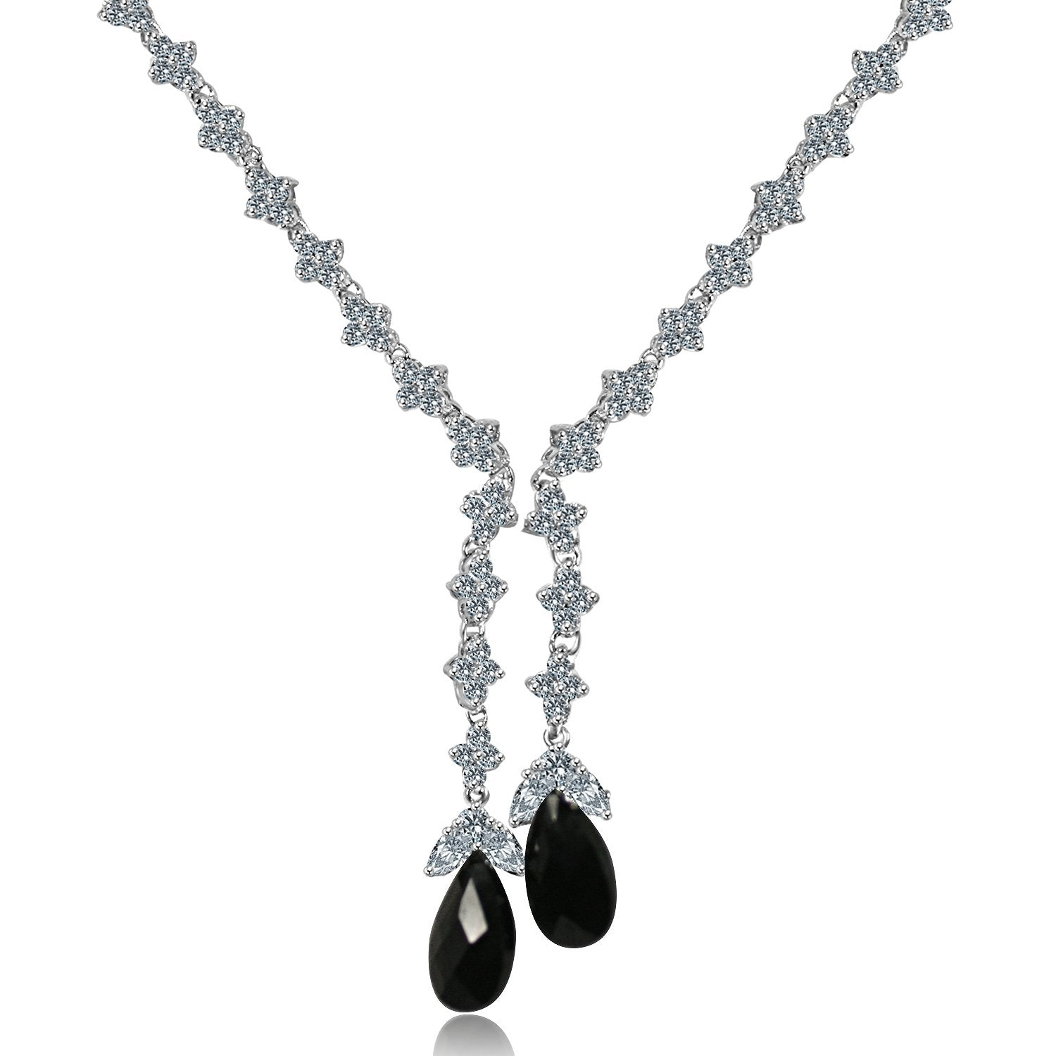 ZIRCONITE CUBIC ZIRCONIA TASSEL W/LARGE CHECK-A-BOARD CUT PEAR BRIOLETTES NECKLACE. 628N80024