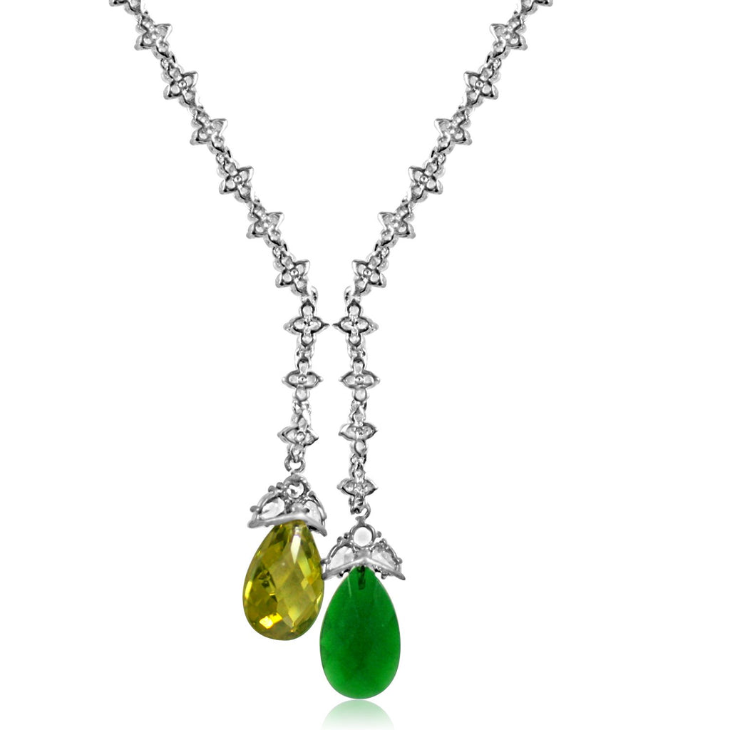 Zirconite Cubic zirconia Tassel w/large check-a-board cut pear briolettes Necklace. 628N80024CR/ER