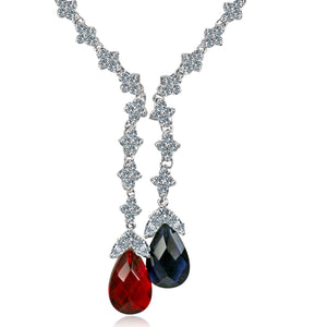 Zirconite Cubic zirconia Tassel w/large check-a-board cut pear briolettes Necklace. 628N80024RR/SR